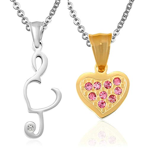 Aeici Couple Necklaces Customized Music Note Heart Couples Silver Gold]()
