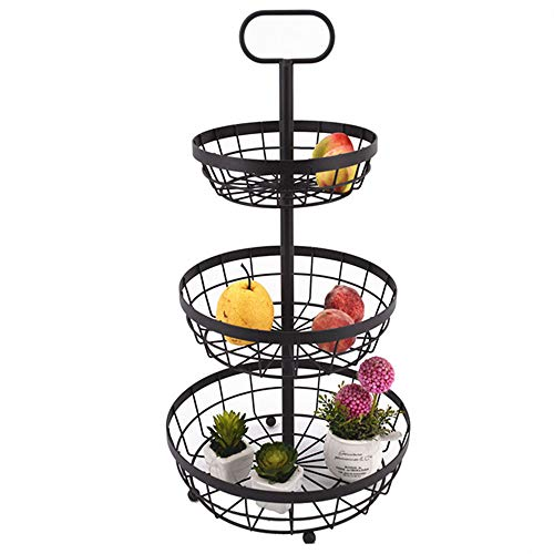- Fruit Plate Creative Fashion Wrought Iron Fruit Plate Kitchen Fruit And Vegetable Rack Floor Stand Three-layer European Fruit Basket