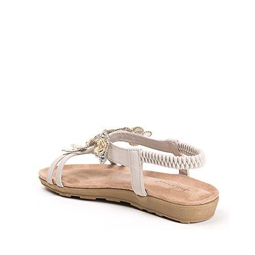 Ideal Shoes, Damen Sandalen Grau