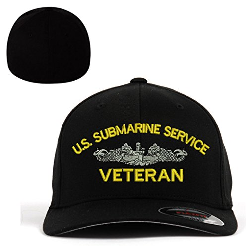 U.S. Submarine Service Veteran Flexfit Baseball Cap Military Hat Black L/XL (Submarine Hats)