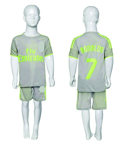 check out 0a7bb 05bbe Sportyway Kid's Real Madrid Ronaldo Football Jersey Set (8-9 Years, Grey,  Green)
