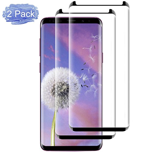 Galaxy S9 Screen Protector, [2 Pack] 3D Curved Full Screen Coverage [9H Hardness] [HD Clear] [Case-Friendly] [Anti-Bubble] Galaxy S9 Tempered Glass Film Screen Protector for Samsung Galaxy S9