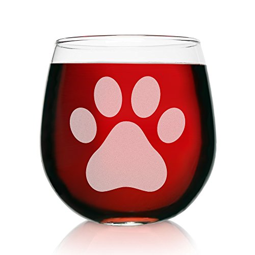 Two Laser Etched Stemless Wine Glasses-16.75 Ounce Capacity-Paw Print Design- 2 Piece Set- Elegant Glass-Perfect Gift for any Dog Owner or Rescue-for-Birthday-Housewarming-or-Christmas-Made in (Dog Print Gifts Set)