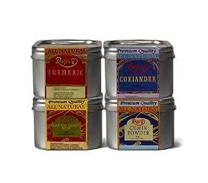 Turmeric Powder 4 Oz, Coriander 4 Oz, Madras Curry Hot & Cumin Powder 4 0z (Gift Pack)