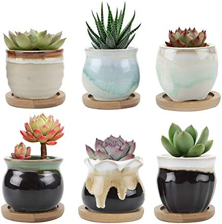 T4U Small Ceramic Succulent Planter Pots with Bamboo Tray Set of 6, Sagging Glazed Porcelain Handicraft as Gift for Mom Sister Aunt Best for Home Office Restaurant Table Desk Window Sill Decoration