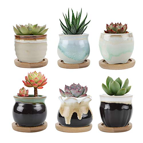 T4U Small Ceramic Succulent Planter Pots with Bamboo Tray Set of 6, Sagging Glazed Porcelain Handicraft as Gift for Mom Sister Aunt Best for Home Office Restaurant Table Desk Window Sill Decoration (Window Sill Gardening)