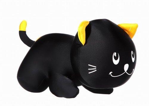 jowiha süßes Kuscheltier Kuschelkissen Knautschkissen Mikroperlenkissen Katze Schwarz/Orange