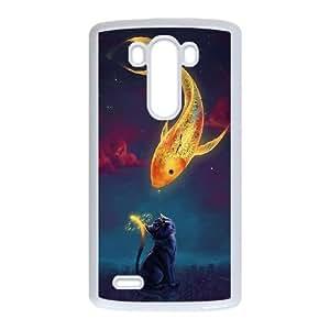 Arte de la fantasía del Goldfish Gatito caja del teléfono LG L G3 célula funda blanca del teléfono celular Funda Cubierta EOKXLKNBC07735
