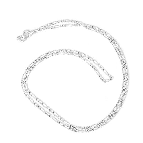 Unisex 14k Solid White Gold Figaro 1.8mm Chain Necklace, 20'' by Beauniq