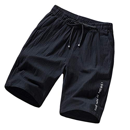 Homeparty Mens Beach Sports Shorts Pants Summer Casual Printing Loose Belt Drawstring Black