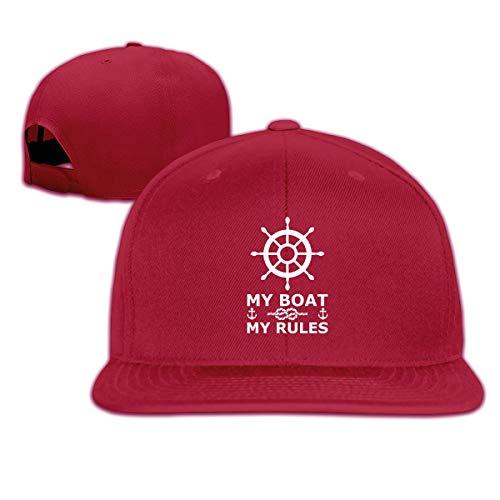 Aiguan My Boat My Rules Flat Visor Baseball Cap, Designed Snapback Hat Dark Red