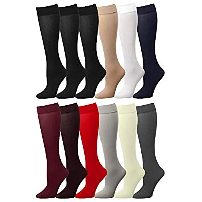 12 Pairs Multi Color Women Stretchy Spandex Opaque Knee High Trouser Socks 9-11 Assorted at Women's Clothing store