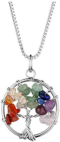NIUTAH Chakra Gemstone Tree of Life Natural Tumbled Gemstone Wire Wrapped Pendant Necklace (Yellow Resign) 41Ux3DA1GSL