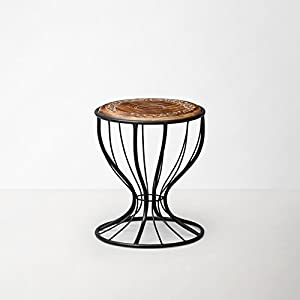 Onlineshoppee Wooden And Wrought Iron Stool/Chair ( Black, 12 X 16 Inch )