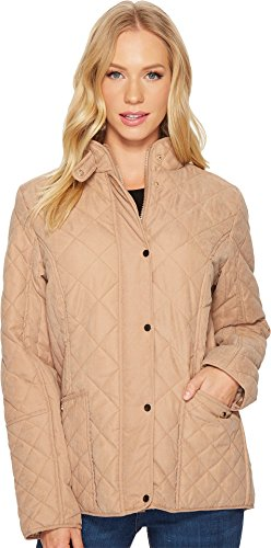 womens tan quilted coat - 2
