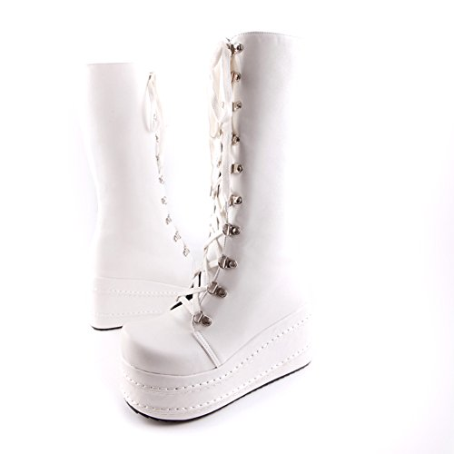 Toe Round Punk Lucksender Platform Womens Fashion Boots Style Comfort Up High Lace White twEAwZWq