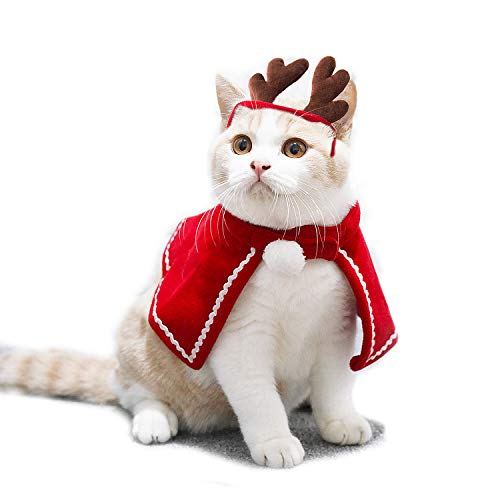 Aviling Cat Dog Puppy Santa Small Cloak Antler Red Hat Headband Christmas Halloween Festival Cosplay Costumes M -