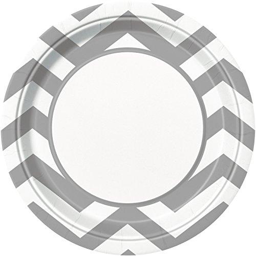 Silver Chevron Paper Plates, 8ct