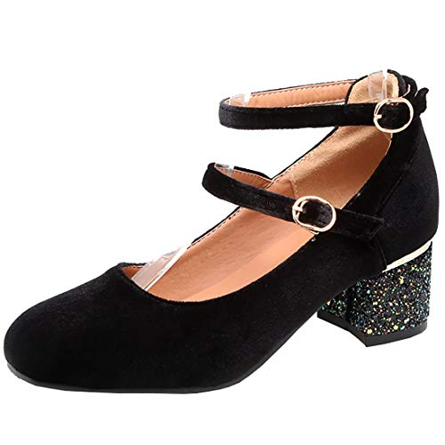 (Artfaerie Womens Velvet Mary Jane Chunky Heels Ankle Strap Mid Block Heeled Retro Court Shoes (US 7.5,)
