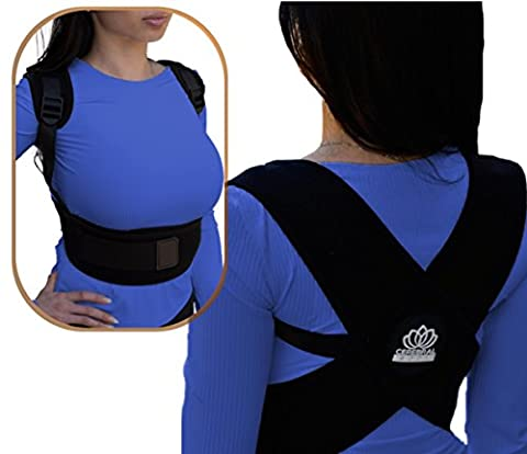 Premium Comfortable Adjustable Posture Corrector. Upper Back Clavicle Support Brace Improves Kyphosis and Lower Back Pain for Men and Women through Natural Posture Relief LRG (Large/Xlarge)