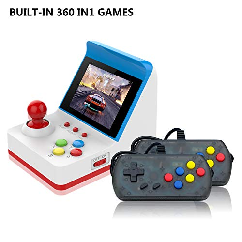 Handheld Game Console, Retro FC Game Console Video Game Console with 3 Inch 360 Classic Games with 2 Joysticks , Birthday Present for Children (red)
