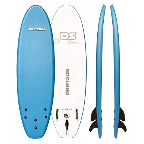 "Driftsun Nymbus 72"" x 20"" Blue Foam Surfboard, with EPS Foam Core, Includes 3 Removable Fins"