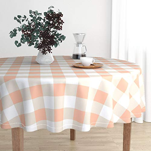 Roostery Round Tablecloth - Plaid Spring Easter Basket Girls Pastel Farmhouse Peachy Peach Plaid Buffalo by Theartwerks - Cotton Sateen Tablecloth 70in