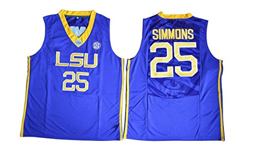 Men's Ben Simmons #25 LSU Tigers College Basketball Authentic Jersey Blue/Medium