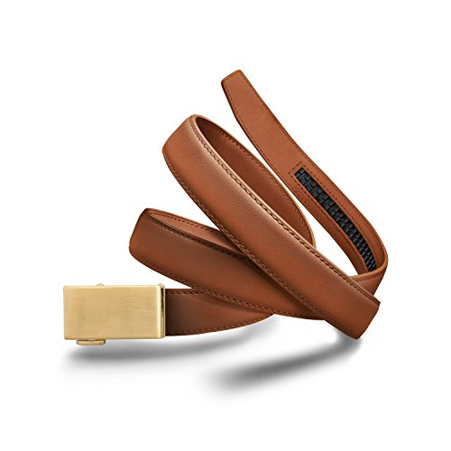 (Mission Belt Women's Ratchet Belt - 30mm Gold Buckle/Light Brown Leather Strap, Extra Large (Up to 42