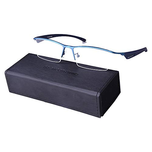 - Men Rectangle Business Eyeglasses TR-90 Temple Semi Rimless Pure Titanium Eyewear Optical Glasses Frame (Blue)