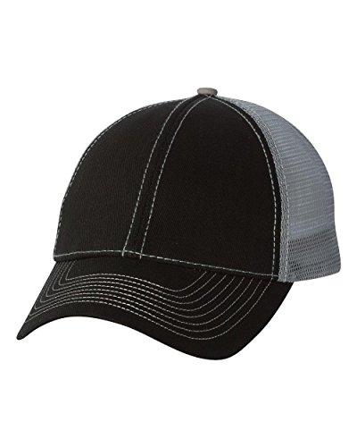 Mega Cap - Heavy Cotton Twill Front Trucker Cap - 7641-Black/Grey