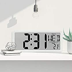 TXL Jumbo Digital Alarm Clock, Large LCD Display Timer/Calendar/Temperature/Snooze/12-24H, Energy Saving Battery Operated Extra Large Digital Wall Clock, Desk Clock for Bedside Office Gym Hotel, White
