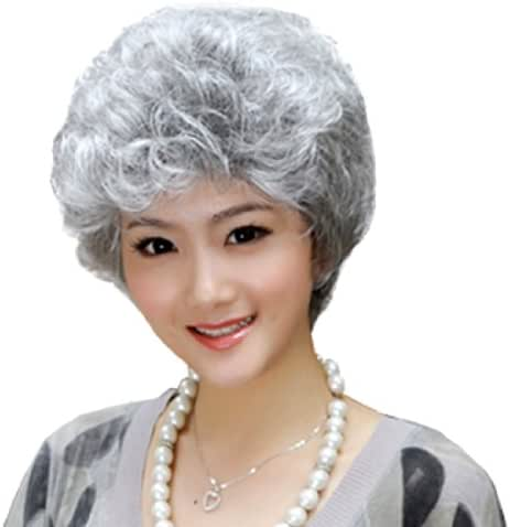 GOOACTION Women Short Silver White Fluffy Curly Wavy Wig for Old Middle Aged and Elderly Women Granny Cosplay Synthetic Costume Wigs