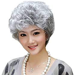 Short Silver Grey Fluffy Slight Curl Wavy Wig Middle Age Women Wig Mother Wig Office Lady OL Wig Gift For Mother