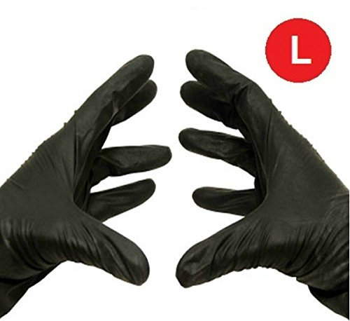 Black Nitrile Powder Free Disposable Gloves Non-Medical Size-Large 3.5 Mil Thick 1000 / Case
