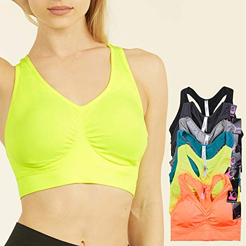 1 Women Sport Fitness Padded Seamless Crop Vest Bra Comfort Yoga Workout Gym Top