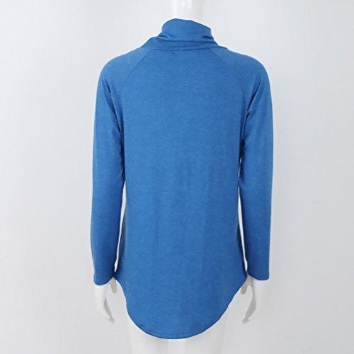 Ragazza Baggy Autunno Partito Felpe Colore Vintage High Moda Casual Chic Abbigliamento Blu Top Elegante Felpa Neck Tshirt Longsleeve Pullover Invernali Puro Donna 7FxPqwC