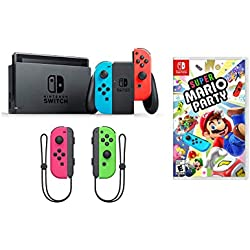 Nintendo Switch Super Mario Party Joy-Con Bundle: Super Mario Party, Nintendo Switch 32 GB Console with Neon Read and Blue Joy-Con with Extra Neon Pink and Green Joy-Con