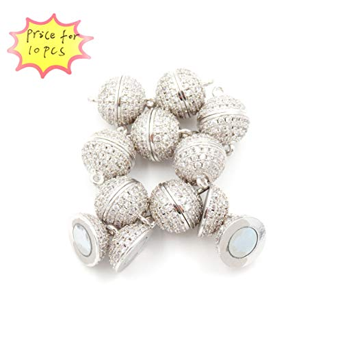 (Magnetic Clasp for Jewelry Making, zirxon Pave Clasp, Sold per Bag 10pcs Inside (10mm White)