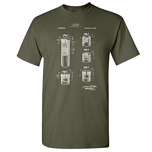 Shotgun Shell T-Shirt, Hunter Gift, Gun Enthusiast, Gun Club, Duck Hunting, Police Swat Team, Firearm Design Military Green (Medium)