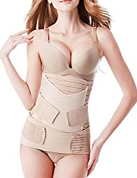 Postpartum Belly Wrap 3 Belts In 1 Postnatal Band Post C Section Recovery Girdle Binder Nude