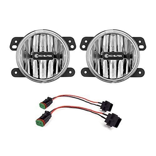 KC HiLiTES 506 Gravity LED G4 Clear Fog Lights for Jeep JL-Sahara-Rubicon & JT-Overland-Rubicon Stock Bumper