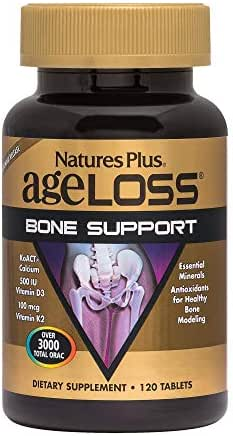 NaturesPlus AgeLoss Bone Support - 120 Tablets - Anti-Aging, Antioxidant, Anti-Inflammatory Supplement with Calcium, Vitamin D3 & K2, Supports Flexibility & Density - Gluten-Free - 30 Servings