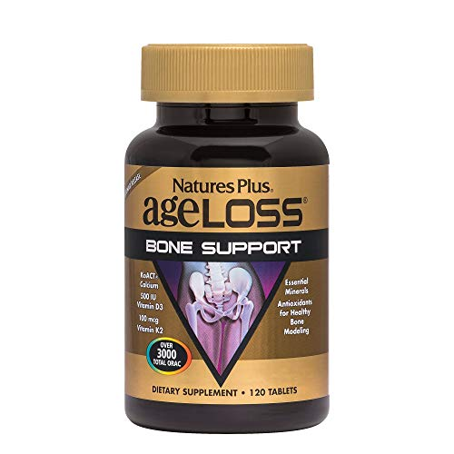 - NaturesPlus AgeLoss Bone Support - 120 Tablets - Anti-Aging, Antioxidant, Anti-Inflammatory Supplement with Calcium, Vitamin D3 & K2, Supports Flexibility & Density - Gluten-Free - 30 Servings