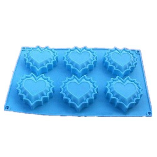 Allforhome(TM) 6 heart Silicone Cake Baking Mold Cake Pan Muffin Cups Handmade Soap Molds Biscuit Chocolate Ice Cube Tray DIY Mold