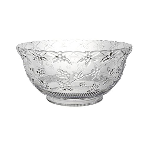 Party Essentials N345886 Hard Plastic 8-Quart Embossed Punch Bowl, Clear
