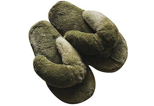 Agowoo Kvinners Ungdoms Fuzzy Thong Flip Flop Tøfler Grønn