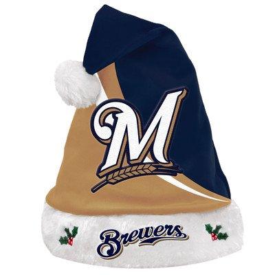 MLB Milwaukee Brewers Swoop Logo Santa Hat, Blue Mlb Santa