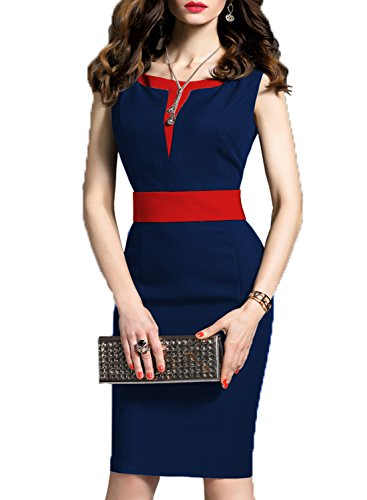 WOOSEA Women's 2/3 Sleeve Colorblock Slim Bodycon Business Pencil Dress (X-Large, Navy Blue+Red)