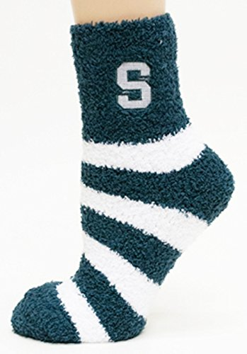 Michigan State Spartans Slippers (NCAA Michigan State Spartans Striped Fuzzy Socks, One Size, Green)